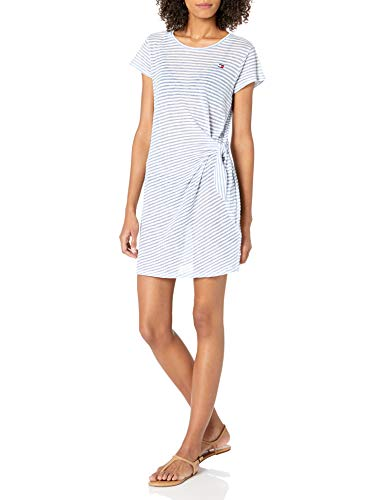 Tommy Hilfiger Damen Tie Front Dress Coverup Bademode, Cover-Up, Chambray, Large