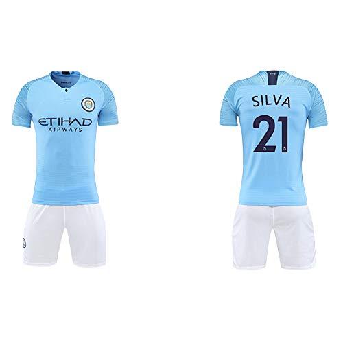 Manchester City Trikot 2018/19 Saison 17 De Blaunet Fußball Bekleidung Anzug Männer Erwachsene Kinder Team Uniform (alle Code -2XL) Gr. 130 cm, Hellblau5