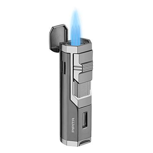 【高い品質】PIPITA 葉巻 ライター シガーガスライター 注入式 ジェットライター 防風 充填式 直噴ターボライター トーチ・火起こし(ガスなし)