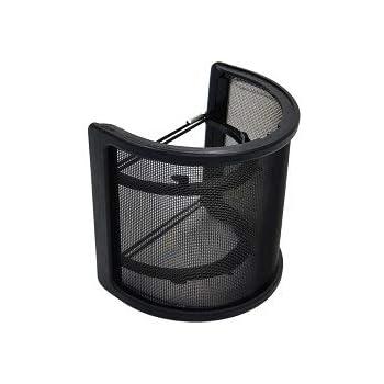 Volive ポップブロッカー ポップガード ポップフィルター マイクフィルタ ノイズ防止 U型 金属ネット層 45mm-63mmのマイク対応 (ブラック)