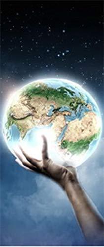 Sprinong® Türtapete Selbstklebend Türposter - Fototapete Türfolie Poster Tapete Fantasie Cartoon Palm Earth Planet 88 * 200Cm - 3D Wandbild Wohnzimmer Küchentür Dekoration Tapete Wasserdichte Wandauf