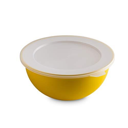 Omada Design Bowl 1,5 l + Deckel, 20 cm Durchmesser, innen weiß, außen farbig, aus Polypropylen und antibakteriellem