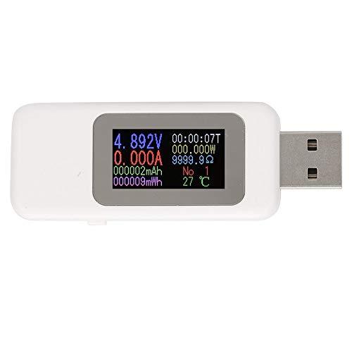 Probador USB Detector de cargador-Pantalla LCD Probador USB Detector de cargador Voltímetro digital Amperímetro Medidor de voltaje DC4-30V(blanco)