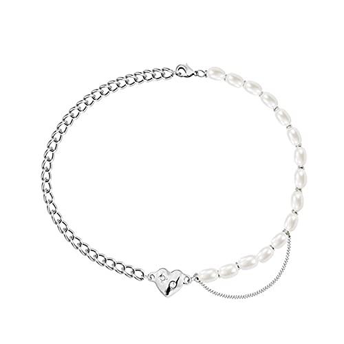Collar personalizado, collar corto de temperamento, diseño de costuras de perlas de moda, pendiente de amor simple, adecuado para todos los sentados