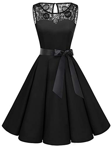 bbonlinedress 1950er Ärmellos Vintage Retro Spitzenkleid Rundhals Abendkleid Black 2XL