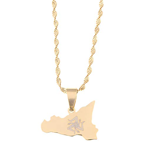 N/A Necklace Pendant Stainless Steel Map Pendant Necklaces Gold Color Chain Jewelry Mother's Day Christmas Birthday Gift