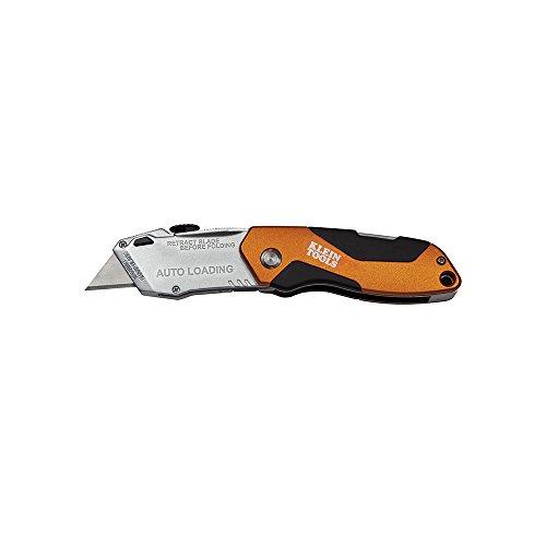 Klein Tools 44130 Auto-Loading Folding Utility Knife, Orange/Black/Silver