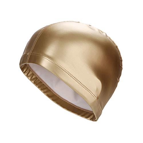 Cuffie Elastico Tessuto Impermeabile PU Orecchie Protect Capelli Lunghi Sport Piscina cap Nuoto Acqua Uomini e Donne (Color : Gold)