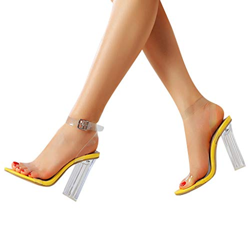 Best Review Of Xinantime Womens Comforty Thick High Heeled Buckle Strap PVC Peep Toe Transparent San...