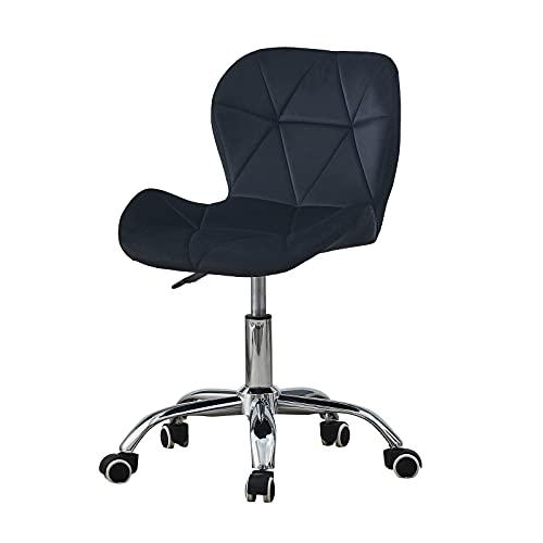 TUKAILAI - Sedia da scrivania ergonomica girevole per ufficio, con supporto regolabile, per conferenze, mobili per la casa, in velluto, colore: Nero