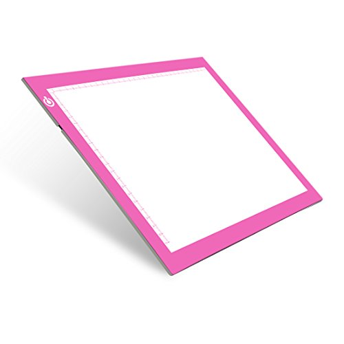 Tablero de Trazado Digital para A4 USB Tablet Box Tracer Para Dibujo, Mesa de Luz Dibujo A4 Dimmable Brillo, Light Pad Botón LED Inteligente Rosado para Aniamtion, Dibujando, Diseñando,Bocetos, X-Ray
