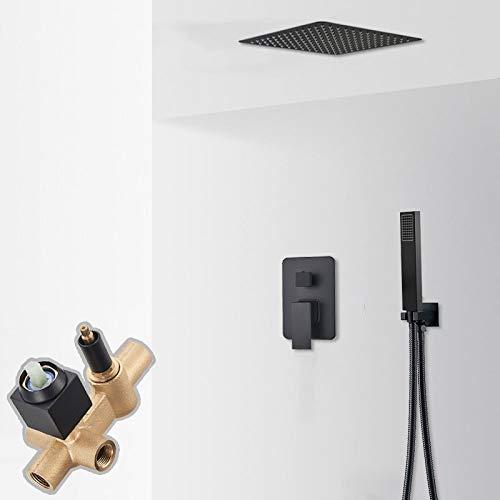 PLUIEX Sistema de Ducha Grifo de Ducha de Techo Negro Mate, Sistema de Ducha de Montaje en Techo de Cascada de Lluvia, Mezclador de Agua fría Caliente de 3 vías, Ducha de baño, 2 vías de 8 Pulgadas