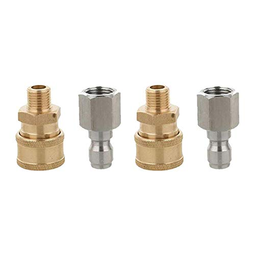4Pcs Pressure Washer Hose Connector Outdoor Power Tools 1/4'' Male & Female, Washer Gun Sprayer Pipe Hose Fitting Parts Adaptors