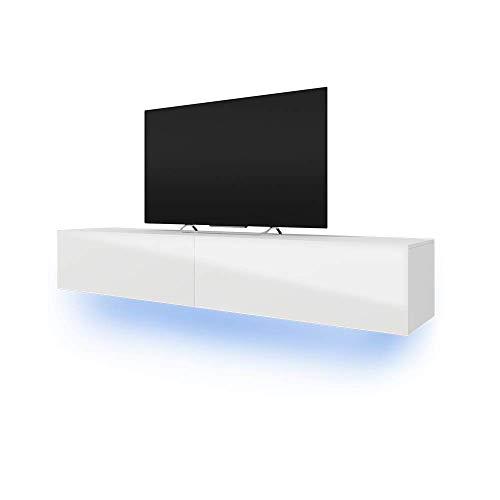 Selsey Skylara – Fernsehschrank/TV-Lowboard mit LED Modern Hängend 200 cm (Weiß Matt/Weiß Hochglanz)
