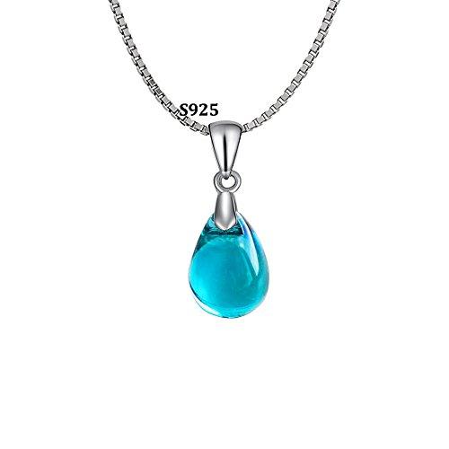 OCARLY 925 Mermaid's Tears Droplet Necklace Gradient Color Czech Crystal Glass Teardrops Pendant