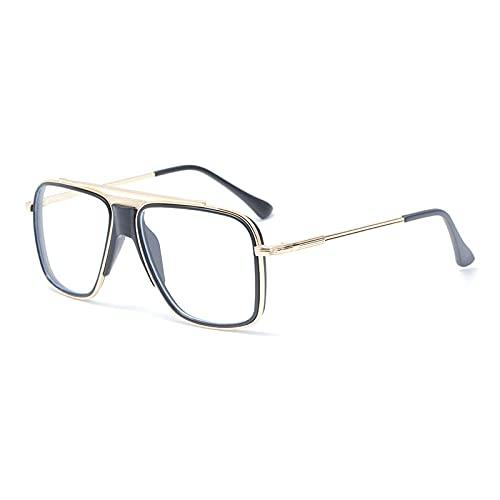 DLSM Fashion Square Classic Men's Sun Gafasses de Gafas de Sol de Mujeres Vintage Unisex UV400 Gafas de conducción-C05 Oro Claro