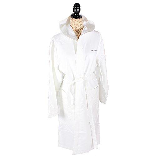 Diadora Bademantel Saunamantel Morgenmantel Mikrofaser Unisex für Damen / Frauen mit Kapuze weiß M / L 118 cm lang