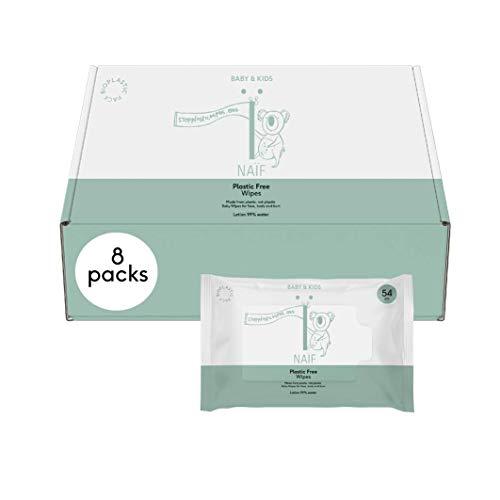 Naïf P056_8 - Toallitas Húmedas sin Plástico para el Glúteo, el Cuerpo o la Cara del Bebé, Blanco ✅