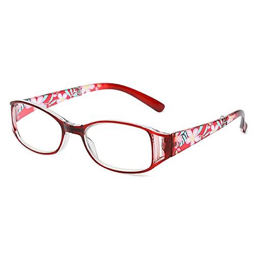 FGJH Moda Mujer bisagra Collapsible Flor Estampado de Resina Lectura Gafas Dama Gafas Protector Gafas antifatiga 713 (Color : Red, Size : +300)