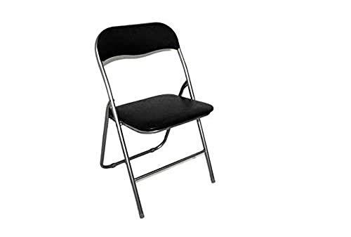 DUE ESSE Sedia Pieghevole Imbottita Struttura in Metallo per casa e Campeggio sedie Nera