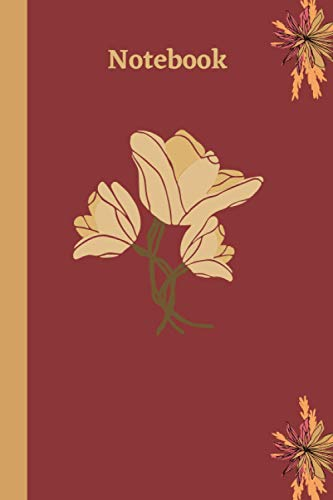 Notebook Beige Rose: Floral Art Notebook, Cover red with amazing flowers beige /cream paper color (6x9 with 120 pages), lined pages Journal.