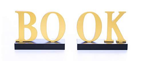 Biz4Yu Boekensteunen Hout [Moderne stijl] Handgemaakt en van hoge kwaliteit - Boekensteunen [BOOK Edition] Boekensteunen in glanzende gouden glans Decoratieve boekensteunen