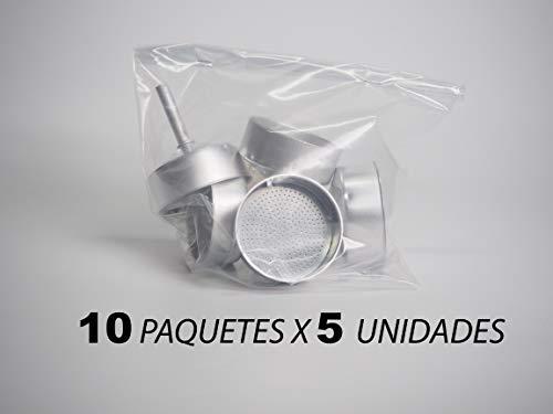 Sanfor 75015 Box 50 trechter koffiezetapparaat aluminium O.L. 9 grote kopjes (10 verpakkingen à 5 stuks), verzilverd