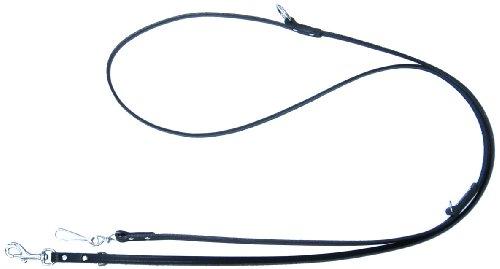 Heim 6401788C Vorführleine aus Leder, mit Bolzenhaken, 3-fach verstellbar, 18 mm breit, 200 cm lang, schwarz
