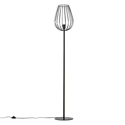 HOMCOM Lámpara de Pie con Base de Metal para Salón Dormitorio Oficina Lámpara Moderna con Interruptor de Pie Ф27,5x159 cm Negro
