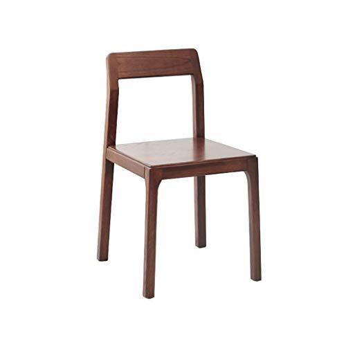 Eetstoel, Massief Houten Eigentijdse Bureaustoel Eenvoudige Restaurantstoel Met Rugleuning (Color : Walnut)