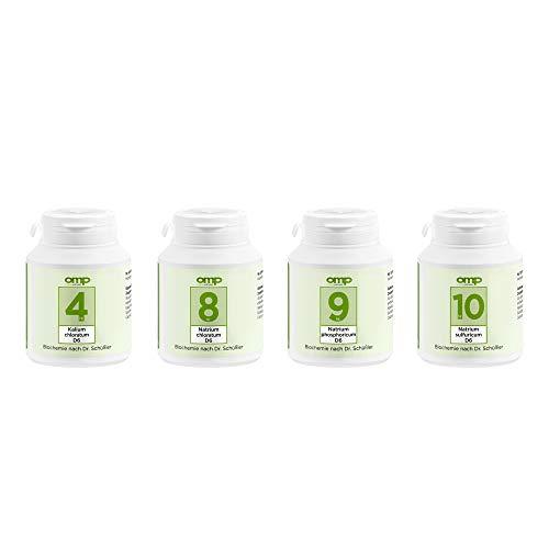 Schüssler Salze Stoffwechsel-Kur | Abnehm-Kur | Nr. 4, 8, 9, 10 je 400 Tabletten | glutenfrei
