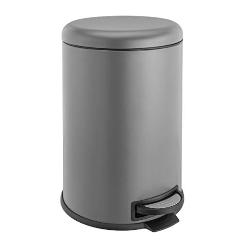 SVITA T20 grau Metall Mülleimer Treteimer Abfalleimer 20 Liter inkl. Inneneimer rund Küchen-Hilfe