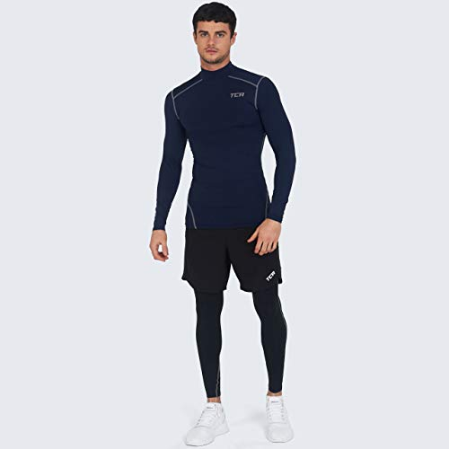 TCA Boys' Pro Performance Compression Base Layer Long Sleeve Thermal Top - Mock Neck - Navy, XL Boy (12-14 Years)