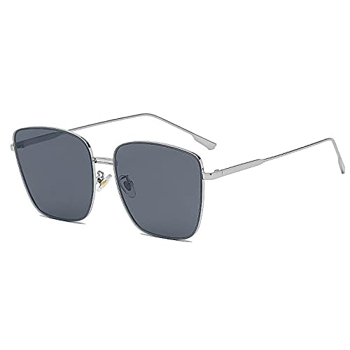 Gafas de sol unisex ocasionales espejo de sol femeninas gafas de sol masculinas grandes caras delgadas, Marco Plateado Negro Gris,