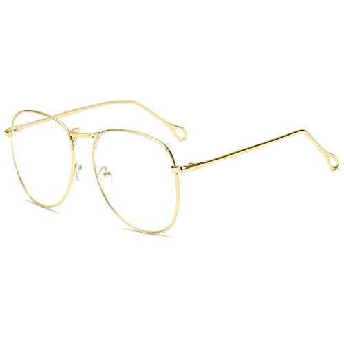 hqpaper Espejo plano de metal retro marco grande gafas retro delgadas marco-Marrón_Luz plana