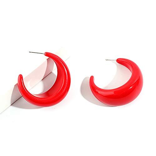 RRWLPendiente Moda Mujer Coreana Redonda C Pendientes rojos Geométrico Pequeño diseño de chile Pendientes colgantes de acrílico Adornos navideños001