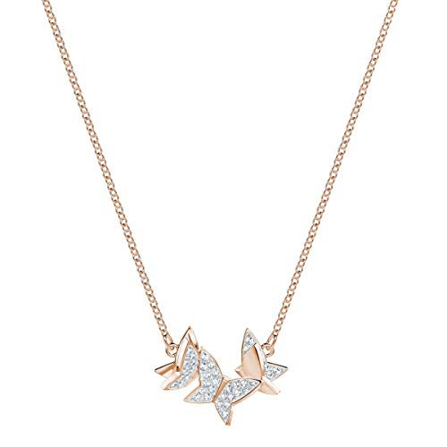 Swarovski Lilia Necklace, White Crystal, Small, Rose Gold Plating, For Women