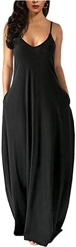 Wolddress Womens Casual Sleeveless Plus Size Loose Plain Long Maxi Dress with Pocket Black 3X product image