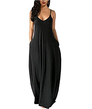 Womens Casual Plus Size Sleeveless Loose Long Maxi Dress with Pocket Black XX-Large
