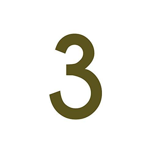 Zahlenaufkleber Nummer 3, Gold, 10cm (100mm) hoch, Aufkleber mit Zahlen in vielen Farben + Höhen, wetterfest