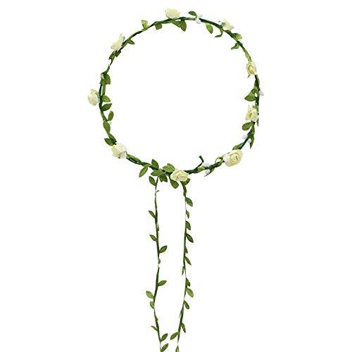 Broadfashion Haarkranz Blumen Damen Mädchen Hochzeit Kommunion Blumenhaarkranz (Beige)