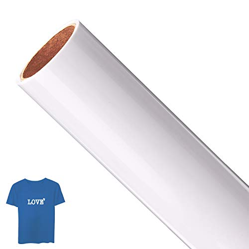 AIEX Wärmeübertragung Folie Weiße Vinylfolie, Aufbügelbare Bügelfolie Plotterfolie Textil Flexfolie für T-Shirts, Hüte, Kleidung, Hitzepresse, Cricut, Craft Sublimation (12 Zoll x 5 Fuß, 1 Roll)