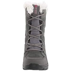 Columbia Women's ICE Maiden II Snow Boot, Shale, Dark Raspberry, 8.5 B US