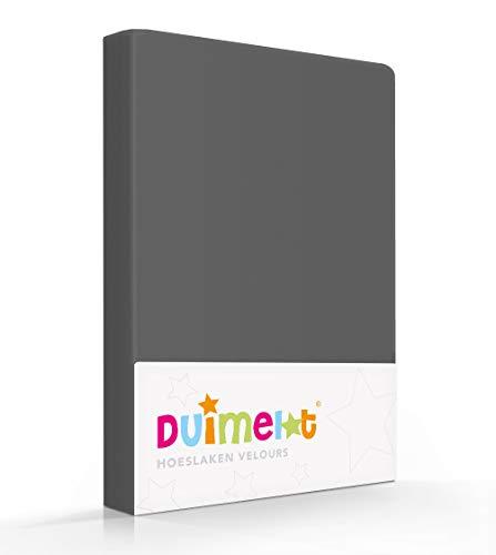 Duimelot Hoeslaken Antraciet Velours, 80% Katoen, 20% Polyester, 220 gr/m2 Baby hoeslaken/Junior hoeslaken 60x120/70x140/150