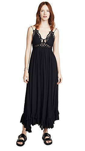 Free People Women's Adella Maxi Slip Dress, Black, Large