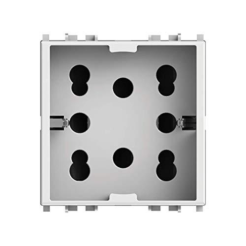 4Box 4B.V14.H21, Side, Presa da Incasso Multistandard 1 Schuko + 2 Bipasso, Compatibile con Vimar Plana, 250 V, Bianca