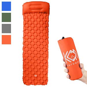 KOR Outdoors Inflatable Camping Sleeping Pad Mattress with Pillow - Orange