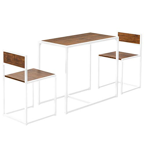 Harbour Housewares Industrial 2 Seater Dining Set - Compact Wooden Kitchen Table & Chairs - Metal Frame - Brown/White