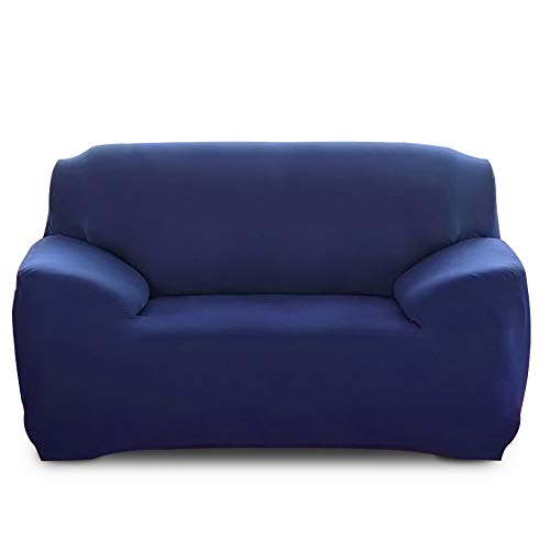 IVYSHION Funda Sofa Elástica 1/2/3/4 Plazas Funda para Sofá Universal Protectora de Sofá Color Sólido Funda de Sofá o Sillón Lavable Duradera(Azul Marino,2 Plazas(145-185cm))