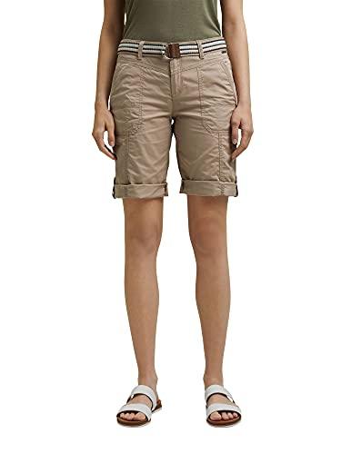 ESPRIT Damen Mit Gürtel, Play Bermudas Shorts, 270/BEIGE-New Version, 40